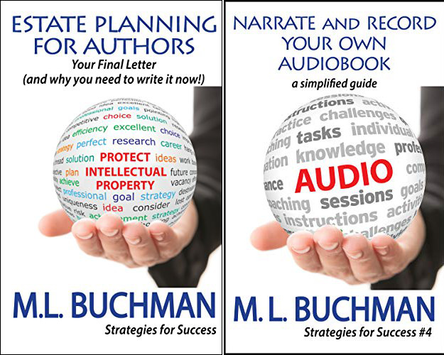 Covers for two nonfiction books by M.L. Buchman: Estate Planning for Authors and Narrate and Record Your Own Audiobook