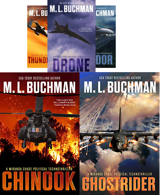 Five book covers in the Miranda Chase series: Thunderbolt, Drone, Condor, Chinook, Ghostrider by M.L. Buchman
