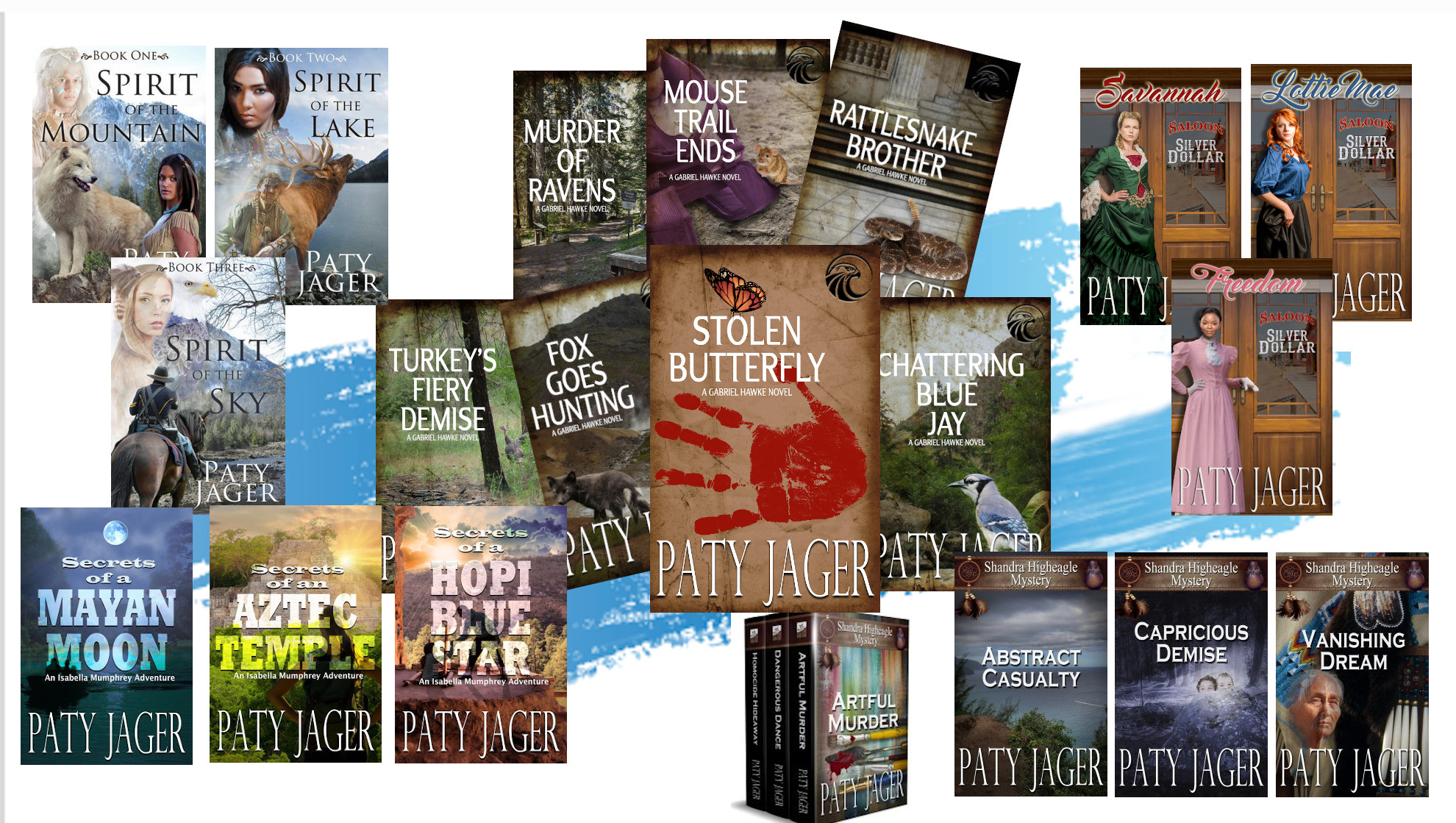 A collage of some of the books written by Paty Jager, award winning author with 50+ titles.